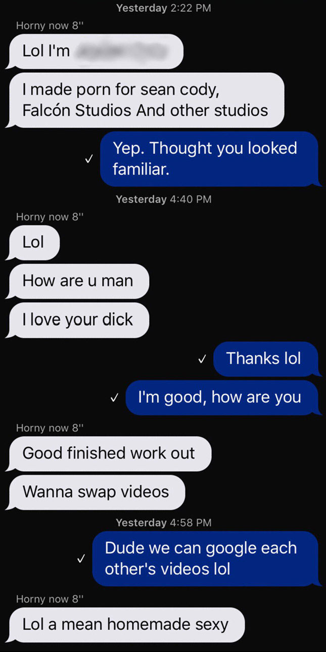 Bravo Delta's sex-app chat with (fake?) Seancody model