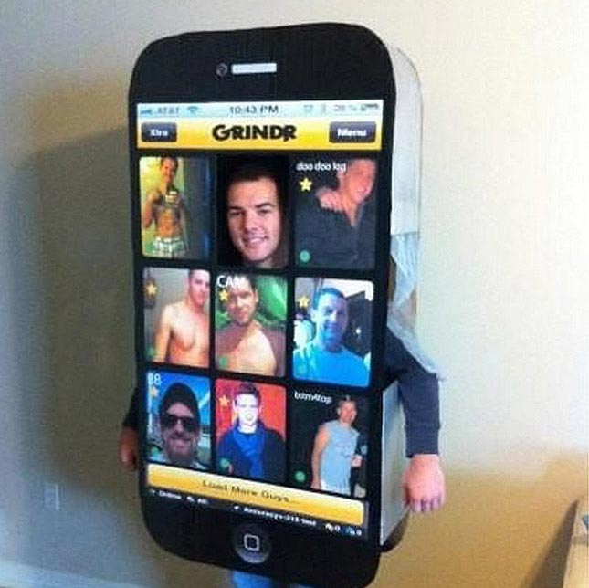 Inspiration for a gay fancy dress party- Grindr app!