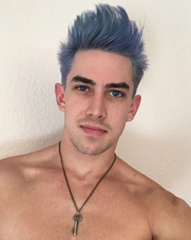 Jack Hunter dyes his hair… blue? Gray?