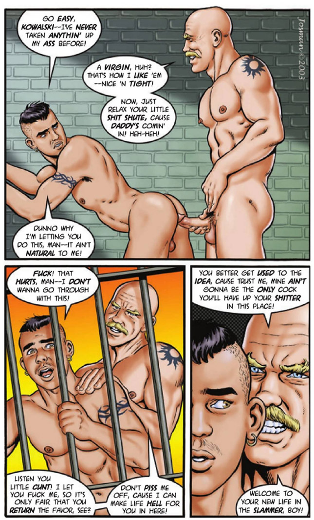 Sizzling-hot gay erotic art: Cellmates by Josman