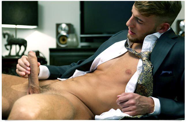 Handsome young guy jerks in a suit & a poolside orgy!
