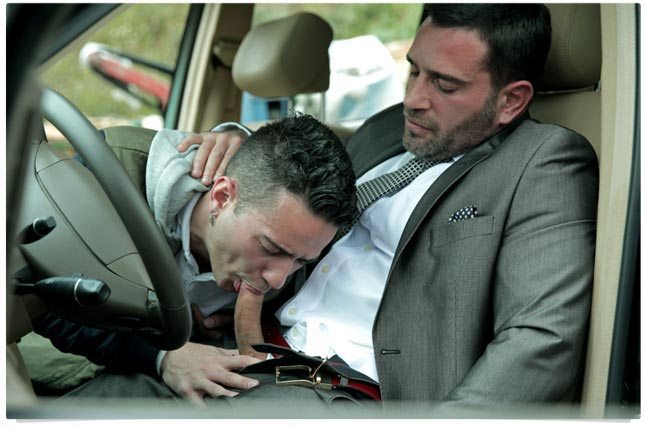 Suited guys in a car & first time barebacked Bel Ami