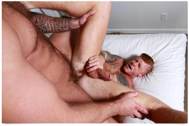 Hairy chest orgy & ginger fucked by bear