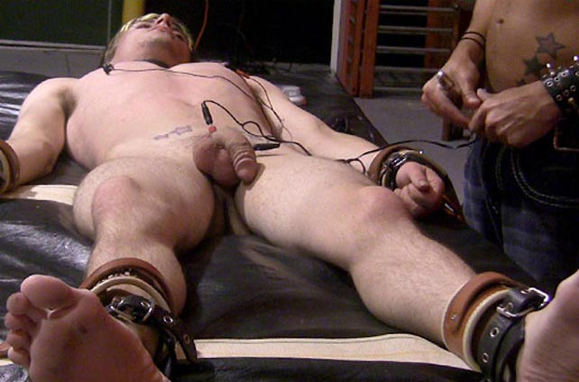 Mykul Pierce tortures Brayland cock with electro-shock