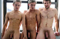 Colby Keller, Jett Black and Bel Ami's Kevin Warhol in art haus threesome