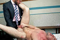 Hairy chested stud Jessy Ares works over Scott Hunter's muscle butt in a locker room
